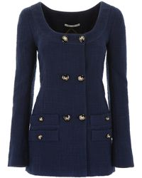 Alessandra Rich Tweed Tailored Jacket - Blue