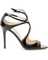 Jimmy Choo Patent Lang Sandals - Black