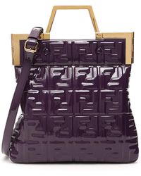 Fendi Ff Logo Embossed Shopper Tote Bag - Purple