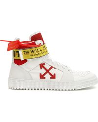 Off-White c/o Virgil Abloh - White And Red Industrial High-top Trainers - Lyst