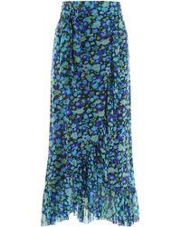 Ganni Floral Print Midi Skirt - Blue
