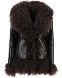Saks Potts Shearling Coat With Fur 2 Leather,fur - Brown