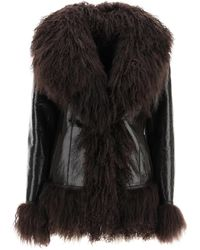 Saks Potts Shearling Coat With Fur - Brown