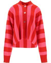 The Attico Oversized Jumper In Striped Merino Wool - Red