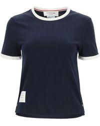 Thom Browne Ringer Cotton T-shirt - Blue