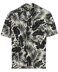 Saint Laurent Tropical Leaf Print Shirt - Black