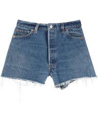 RE/DONE Shorts In Levi's Denim 28 Cotton,denim - Blue
