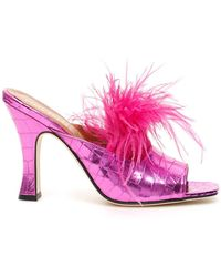 Paris Texas Embossed Feather-embellished Mules - Pink