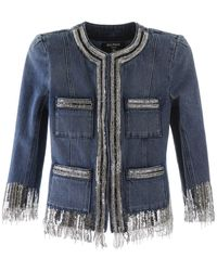 Balmain Sequined Denim Jacket - Blue