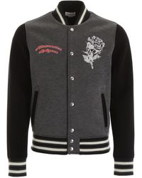 Alexander McQueen Skull Embroidered Bicolor Bomber Jacket - Black