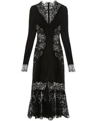 Dolce & Gabbana Lace And Satin Midi Dress - Black