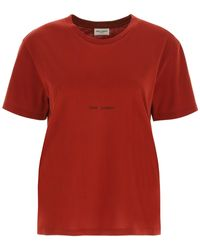 Saint Laurent T-shirt With Logo - Red