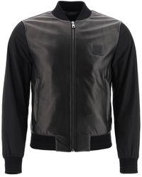 Dolce & Gabbana Leather And Nylon Bomber Jacket - Black
