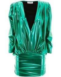 The Attico Metallic Draped Mini-dress - Green