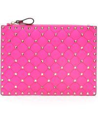 Valentino Garavani Neon Spike Pouch - Pink
