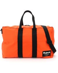 Alexander McQueen Nylon Duffle Bag With Graffiti Logo Patch Os Technical - Orange
