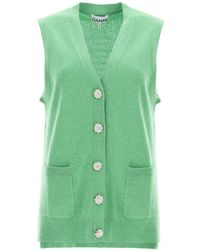 Ganni Cashmere Vest With Jewel Buttons - Green