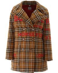 Burberry Tartan Puffer Jacket With Print - Brown