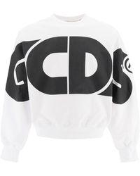 Gcds Round Tee Sweatshirt Maxi Logo S Cotton - Black