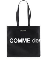 Comme des Garçons Leather Tote Bag With Logo - Black