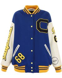 CALVIN KLEIN 205W39NYC Contrast Patches Varsity Bomber Jacket - Blue