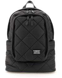Burberry Quilted Waxed Cotton Backpack Os Cotton,leather - Black