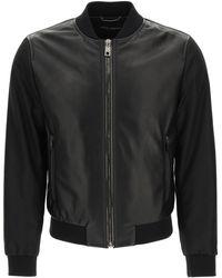 Dolce & Gabbana Leather And Nylon Jacket 48 Leather,technical - Black
