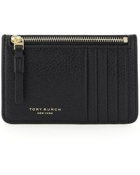 Tory Burch Perry Top-zip Card Case- Black