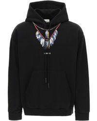 Marcelo Burlon Double Chain Feathers Hoodie S Cotton - Black