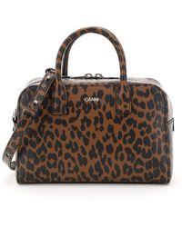 Ganni Leopard Print Handbag - Brown