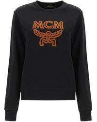 MCM Sweatshirt With Logo Embroidery - Grey