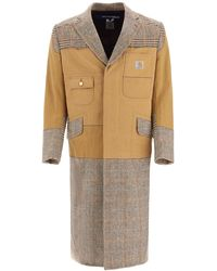 Junya Watanabe Patchwork Coat S Cotton,wool - Natural