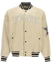 Fendi Satin Bomber Jacket With Logo - Natural