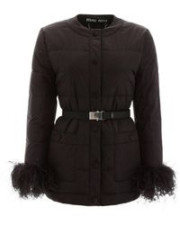 Miu Miu Puffer Jacket With Ostrich Feathers - Black