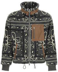 Amiri Sherpa Fleece Jacket With Bandana Print - Black