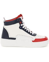 Thom Browne Basketball Hi-top Tricolour Sneakers 9 Leather - Blue