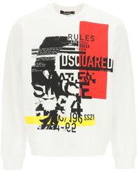DSquared² Punk Logo Crewneck Sweatshirt S Cotton - White
