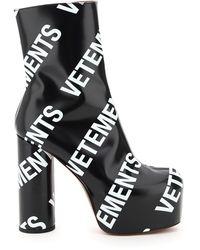 Vetements Logo Print Platform Ankle Boots - Black