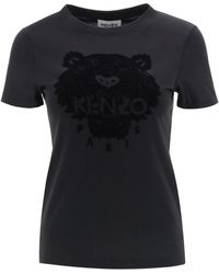 KENZO T-SHIRT TIGER FLOCK - Nero