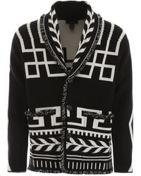 Alanui Intarsia Knit Cashmere Cardigan - Black