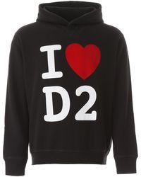 DSquared² FELPA CAPPUCCIO I LOVE D2 - Nero