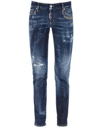 DSquared² Jennifer Jeans With Embroidered Lettering - Blue