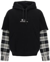 Dolce & Gabbana Dolce & Gabbana Hooded Sweatshirt With Tartan Sleeves - Black