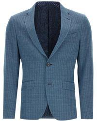 Etro Chevron Blazer 48 Linen,cotton,silk - Blue