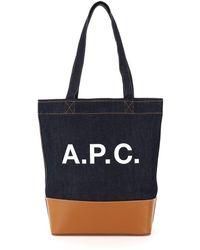 A.P.C. Axelle Denim Tote Bag Os Cotton,denim,leather - Blue
