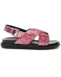 Marni Fussbett Glitter Sandals - Pink
