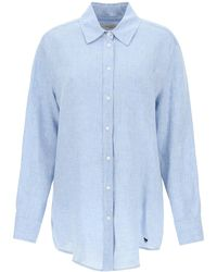 Weekend by Maxmara Linen Chambray Shirt 42 Linen - Blue