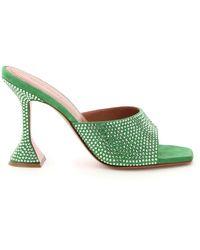 AMINA MUADDI Lupita Leather Mules Crystals - Green