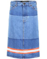 CALVIN KLEIN 205W39NYC Reflective Tape Denim Pencil Skirt - Blue