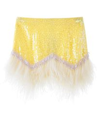 The Attico Mini Skirt With Sequins And Feathers - Multicolour
